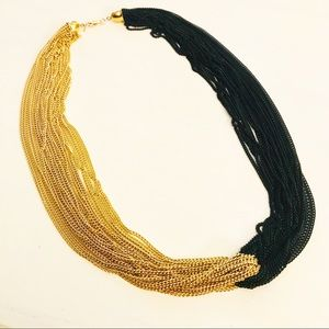 VINTAGE MONET BLACK AND GOLD-TONE NECKLACE SIGNED